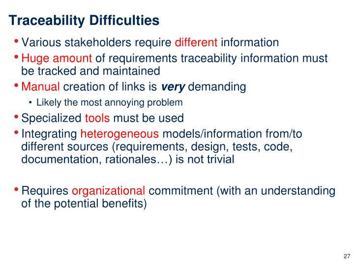 Traceability Difficulties