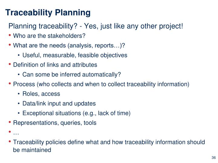 Traceability Planning