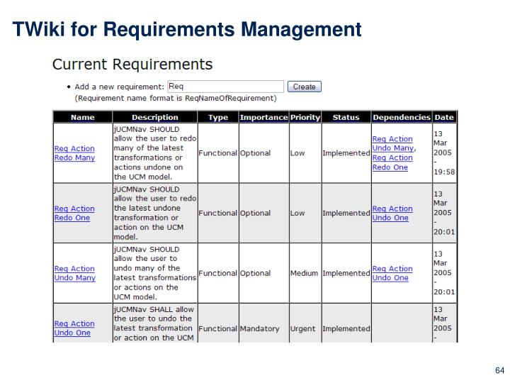 TWiki for Requirements Management