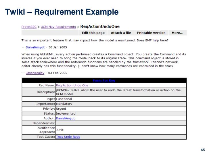 Twiki – Requirement Example