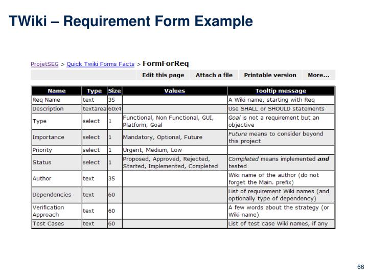 TWiki – Requirement Form Example