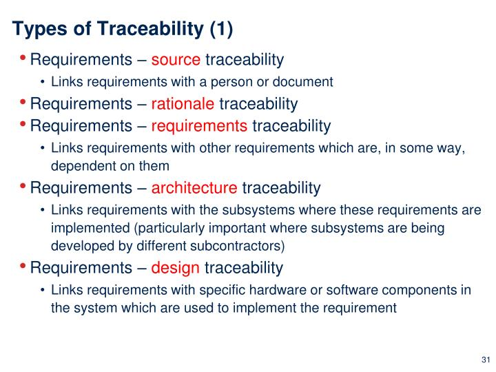 Types of Traceability (1)