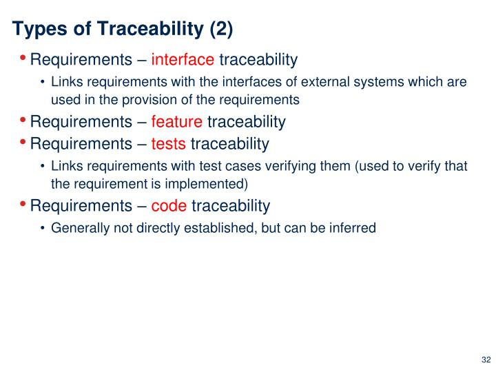 Types of Traceability (2)