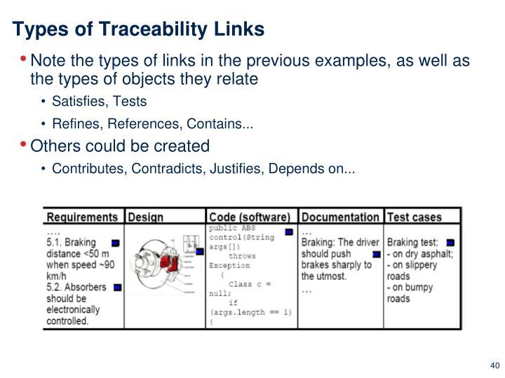 Types of Traceability Links
