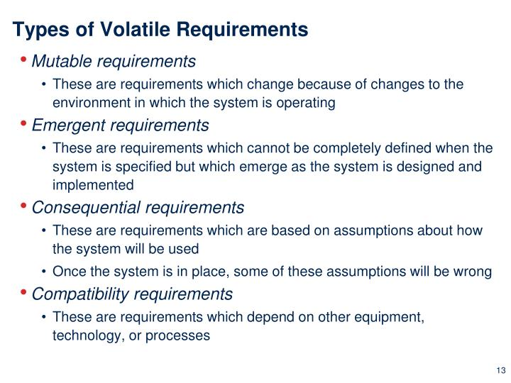 Types of Volatile Requirements