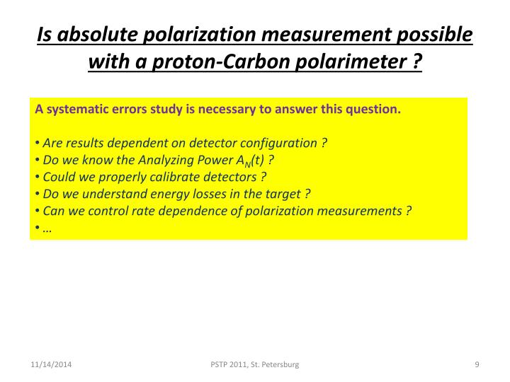 Is absolute polarization measurement possible with a proton-Carbon polarimeter ?