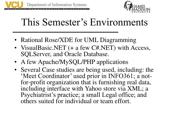 This Semester's Environments