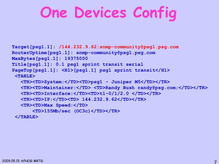 One Devices Config