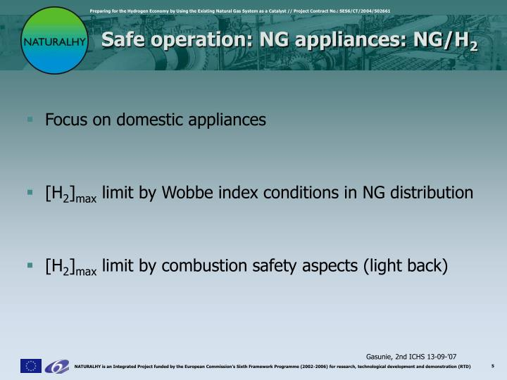 Safe operation: NG appliances: NG/H