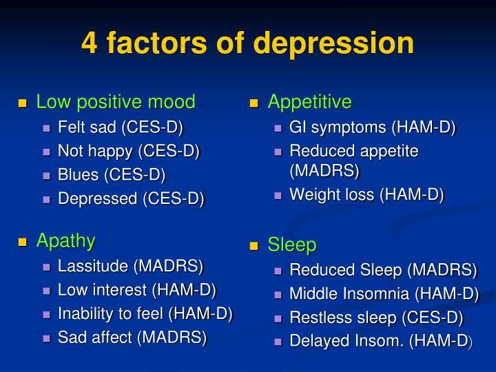 4 factors of depression