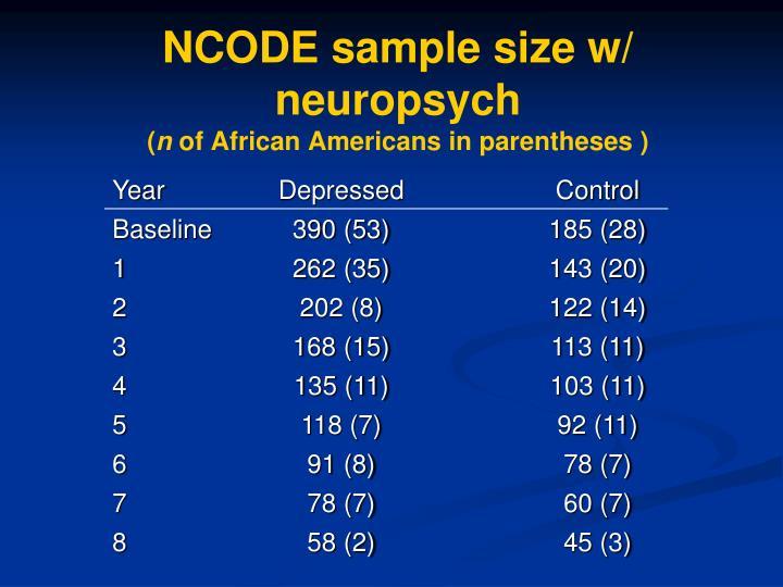 NCODE sample size w/ neuropsych