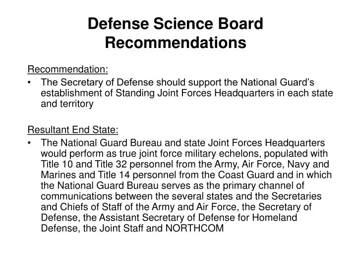 Defense Science Board Recommendations