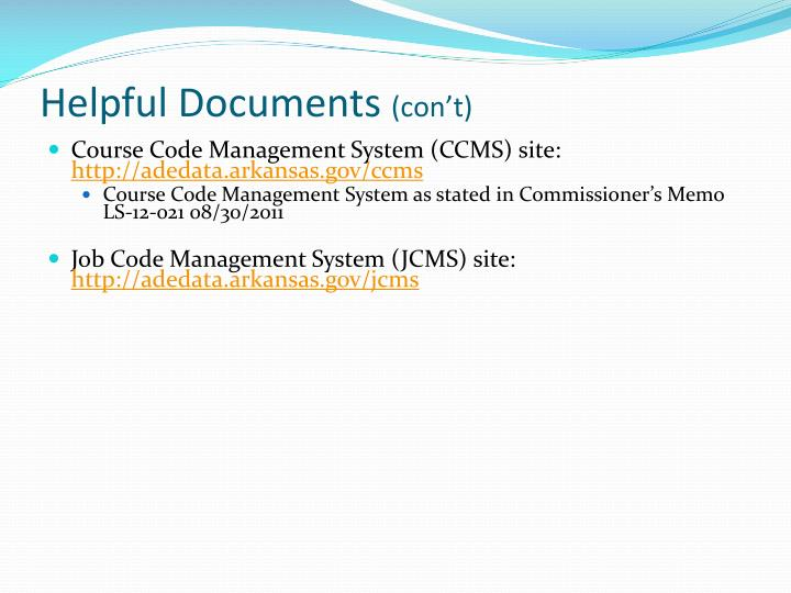 Helpful documents con t