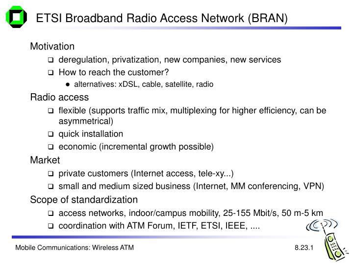 ETSI Broadband Radio Access Network (BRAN)