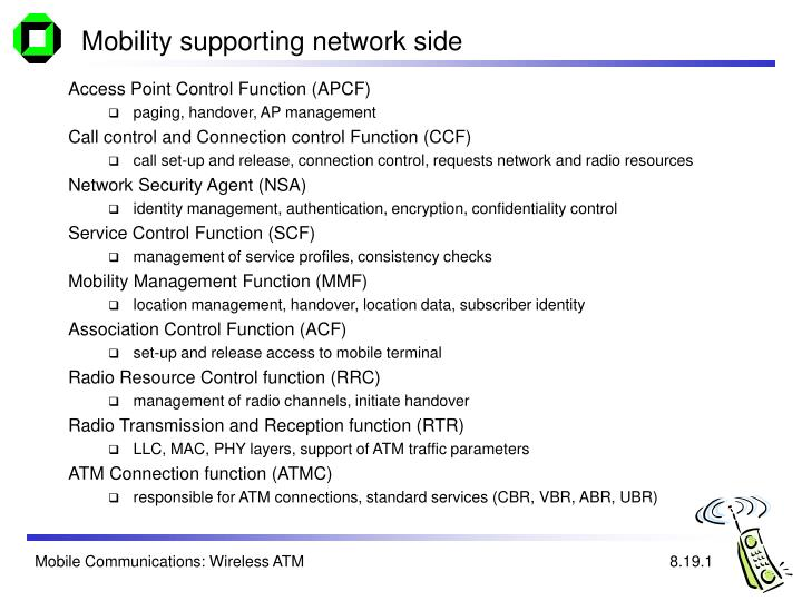 Mobility supporting network side