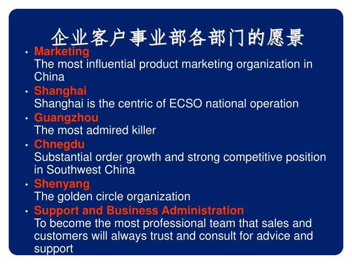 企业客户事业部各部门的愿景