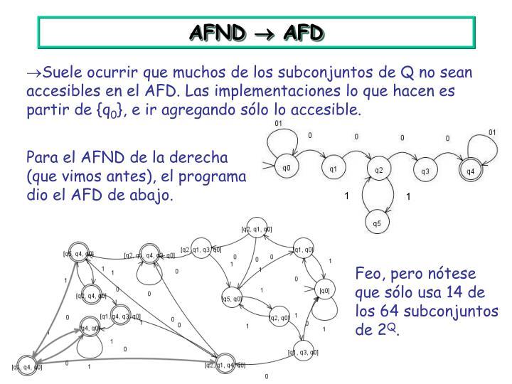 Para el AFND de la derecha (que vimos antes), el programa dio el AFD de abajo.