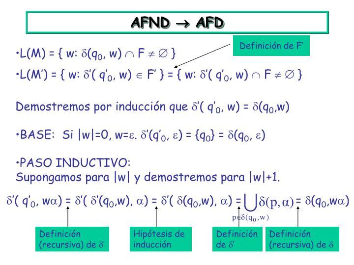 Definición de F'