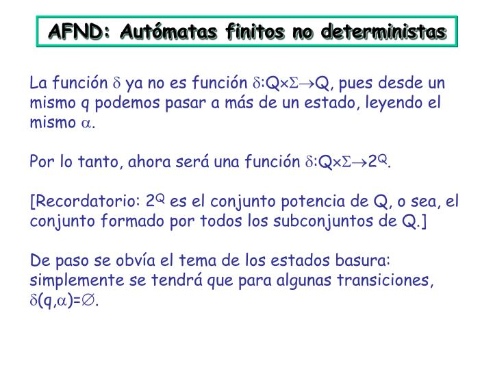 AFND: Autómatas finitos no deterministas