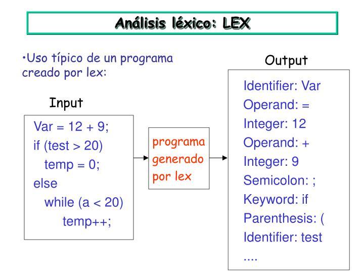 Análisis léxico: LEX