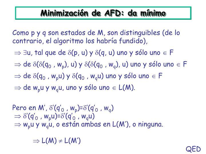 Minimización de AFD: da mínimo