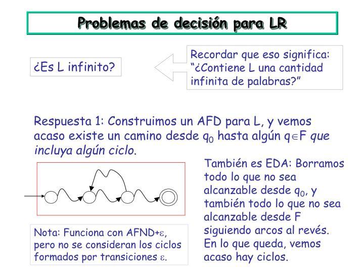Problemas de decisión para LR