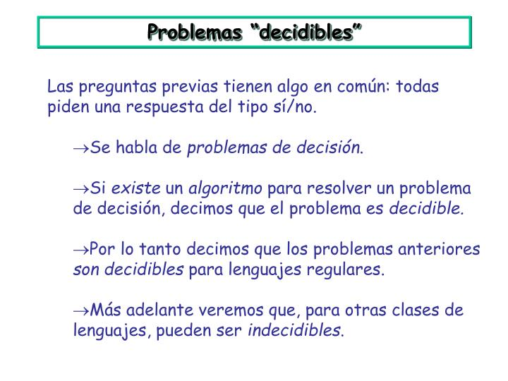 """Problemas """"decidibles"""""""