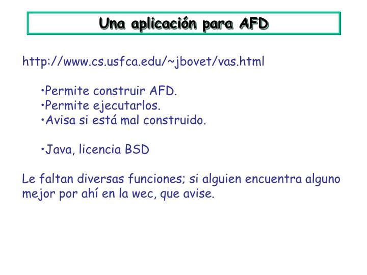 Una aplicación para AFD