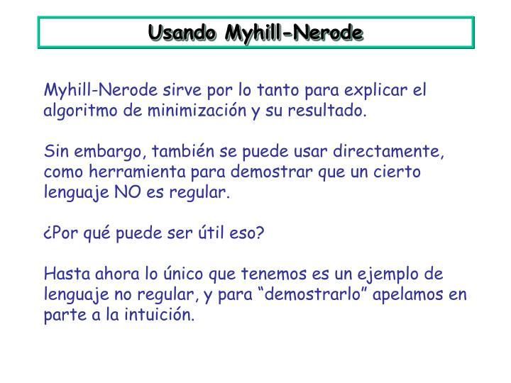Usando Myhill-Nerode