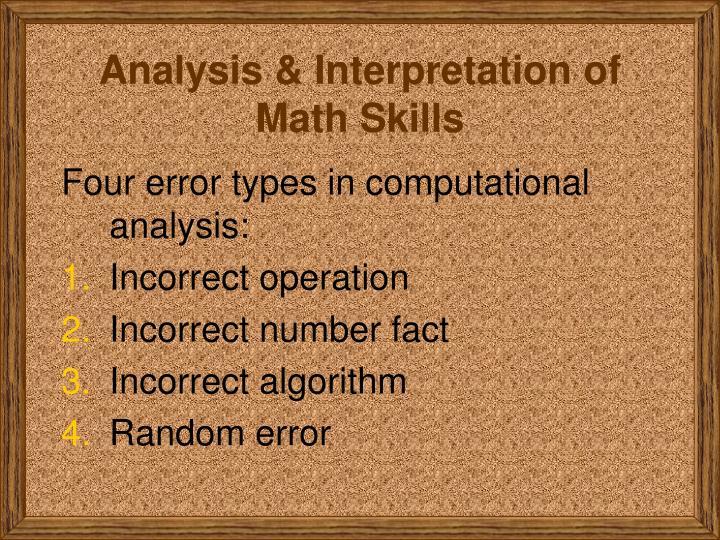 Analysis & Interpretation of Math Skills