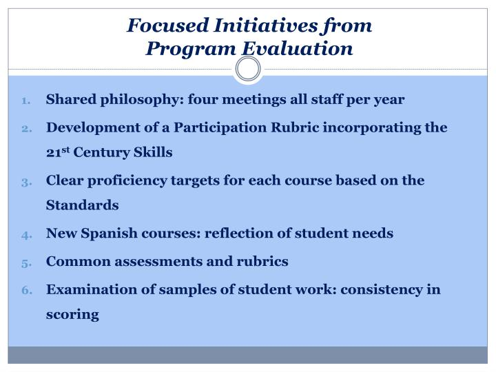 Focused Initiatives from