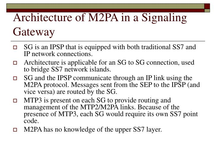 Architecture of M2PA in a Signaling Gateway