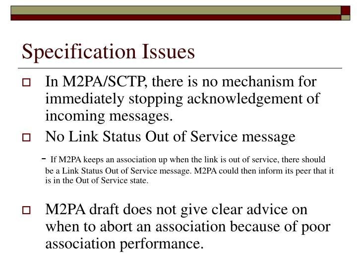Specification Issues