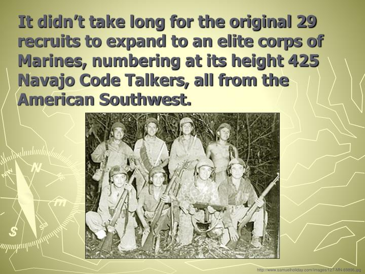 It didn't take long for the original 29 recruits to expand to an elite corps of Marines, numbering at its height 425 Navajo Code Talkers, all from the American Southwest.
