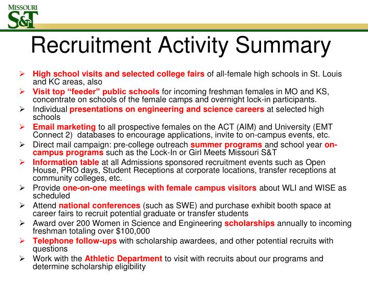Recruitment Activity Summary
