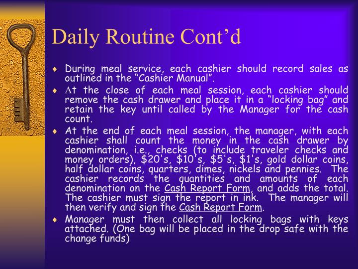 Daily Routine Cont'd