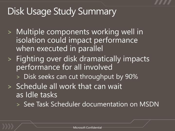 Disk Usage Study Summary