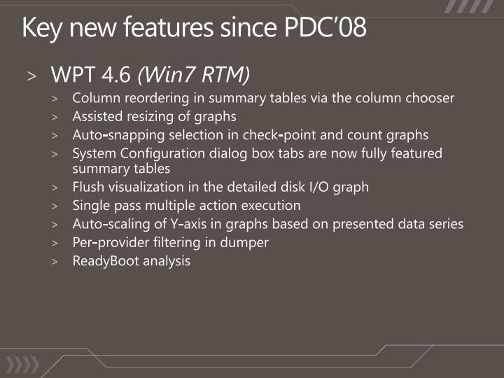 Key new features since PDC'08