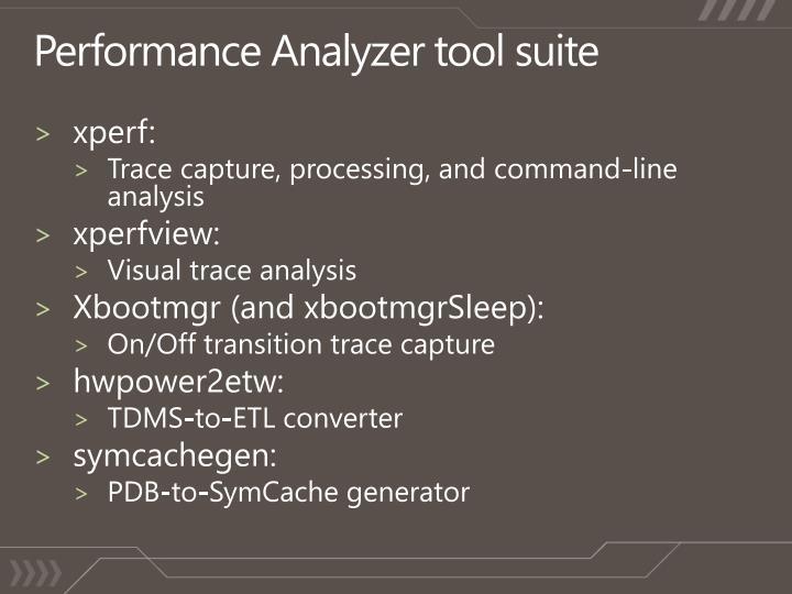 Performance Analyzer tool suite