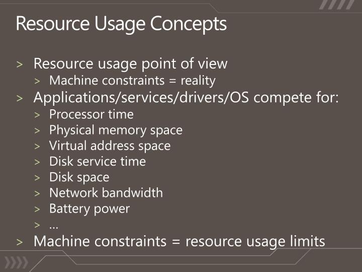Resource Usage Concepts
