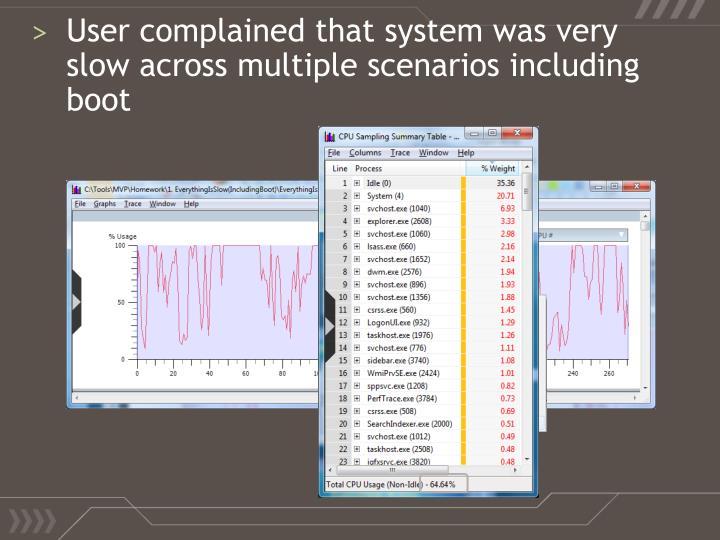 User complained that system was very slow across multiple scenarios including boot