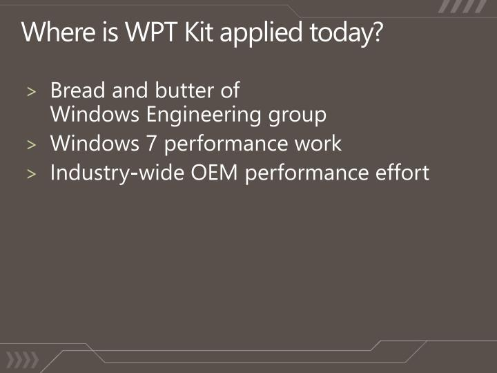 Where is WPT Kit applied today?