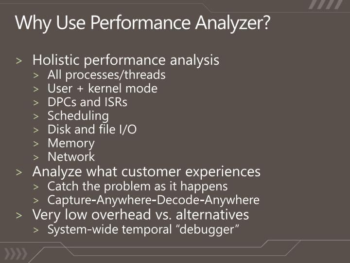 Why Use Performance Analyzer?
