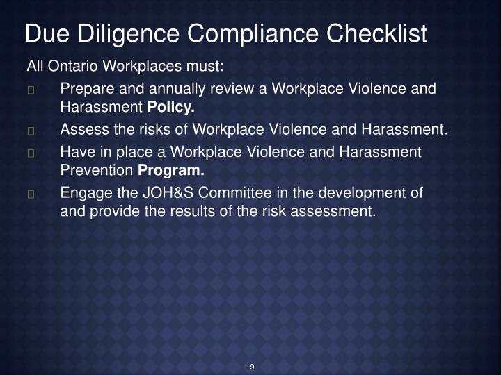 Due Diligence Compliance Checklist