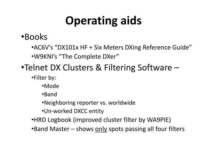Operating aids