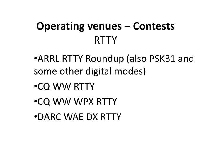 Operating venues