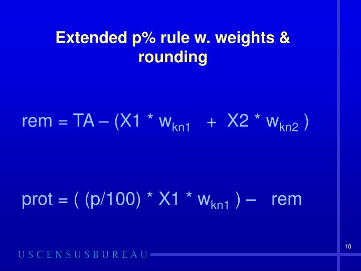 Extended p% rule w. weights & rounding
