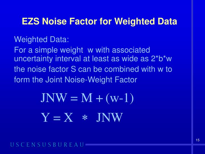EZS Noise Factor for Weighted Data