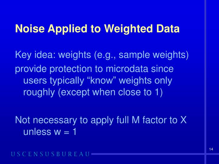 Noise Applied to Weighted Data