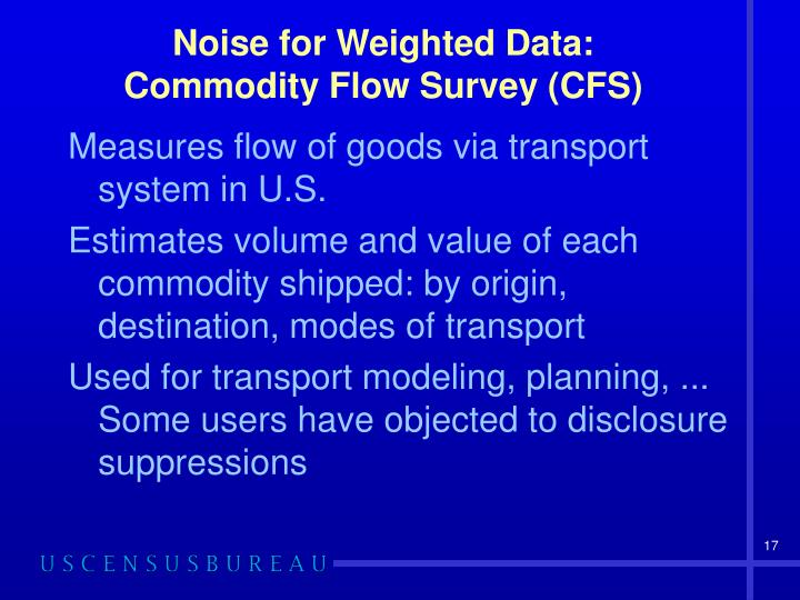 Noise for Weighted Data: